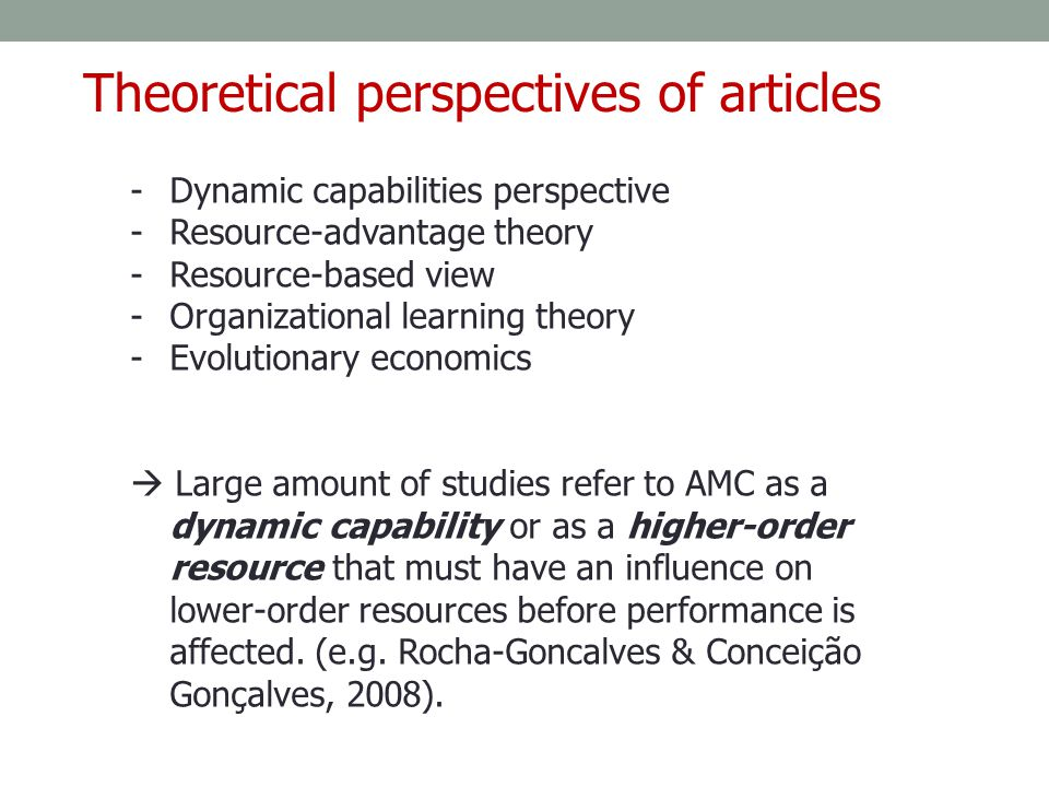 -Dynamic capabilities perspective -Resource-advantage theory -Resource-based view -Organizational learning theory -Evolutionary economics  Large amou