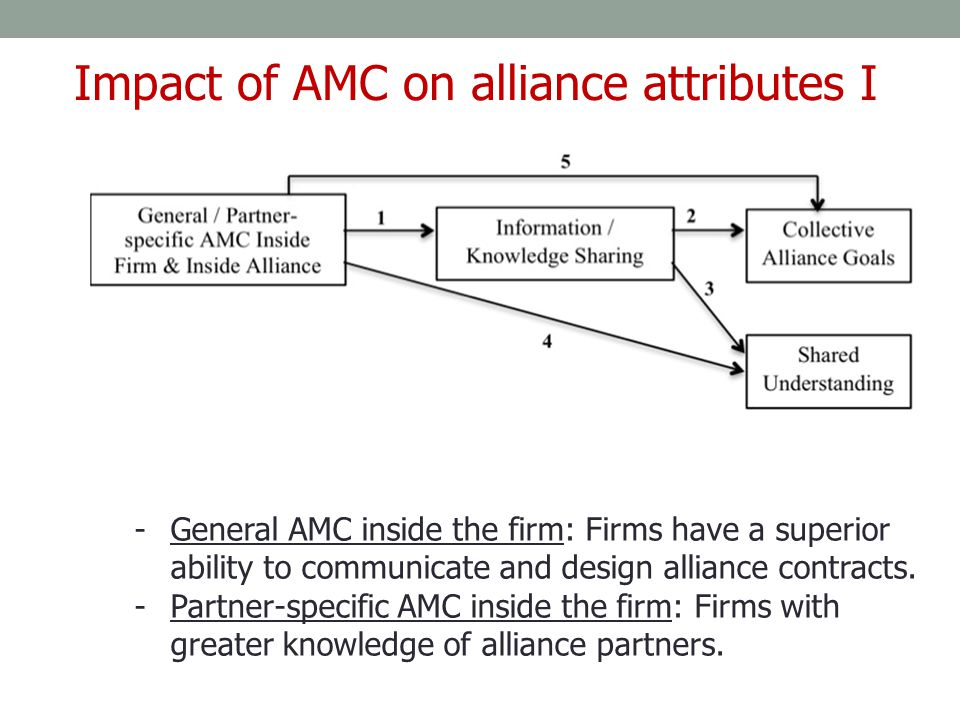 -General AMC inside the firm: Firms have a superior ability to communicate and design alliance contracts. -Partner-specific AMC inside the firm: Firms