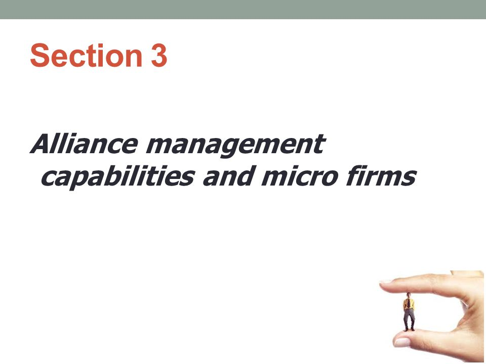 Section 3 Alliance management capabilities and micro firms