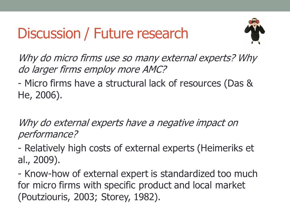 Discussion / Future research Why do micro firms use so many external experts? Why do larger firms employ more AMC? - Micro firms have a structural lac