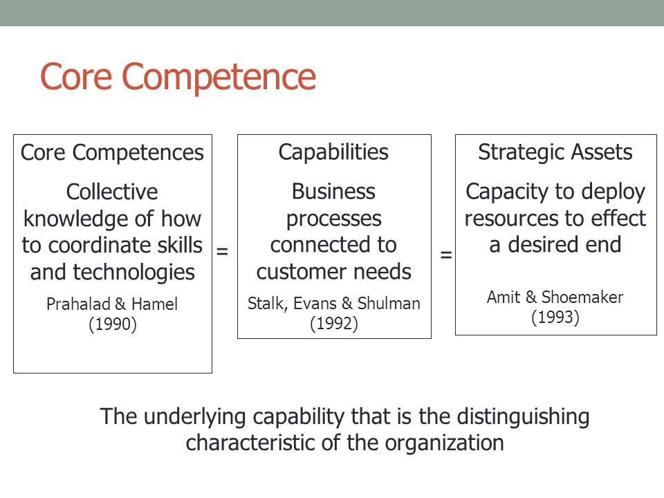 Prahalad and Hamel (1990): core competencies Management's ability to consolidate technology and production skills into competencies so the business can adapt quickly to changing opportunities/circumstances.