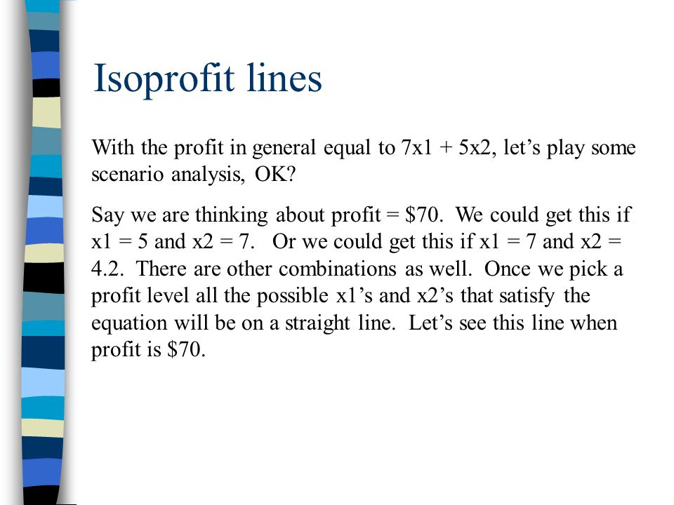 Isoprofit lines With the profit in general equal to 7x1 + 5x2, let's play some scenario analysis, OK.