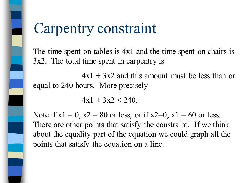 Carpentry constraint The time spent on tables is 4x1 and the time spent on chairs is 3x2.