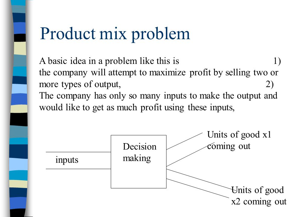 Product mix problem Now, the company has to decide on how much of each type of product to sell.