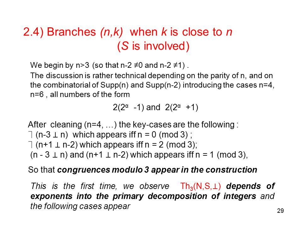 29 2.4) Branches (n,k) when k is close to n (S is involved) We begin by n>3 (so that n-2 ≠0 and n-2 ≠1).