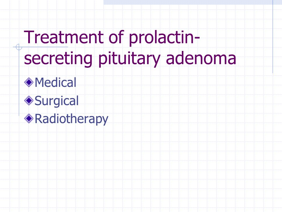 Treatment of prolactin- secreting pituitary adenoma Medical Surgical Radiotherapy