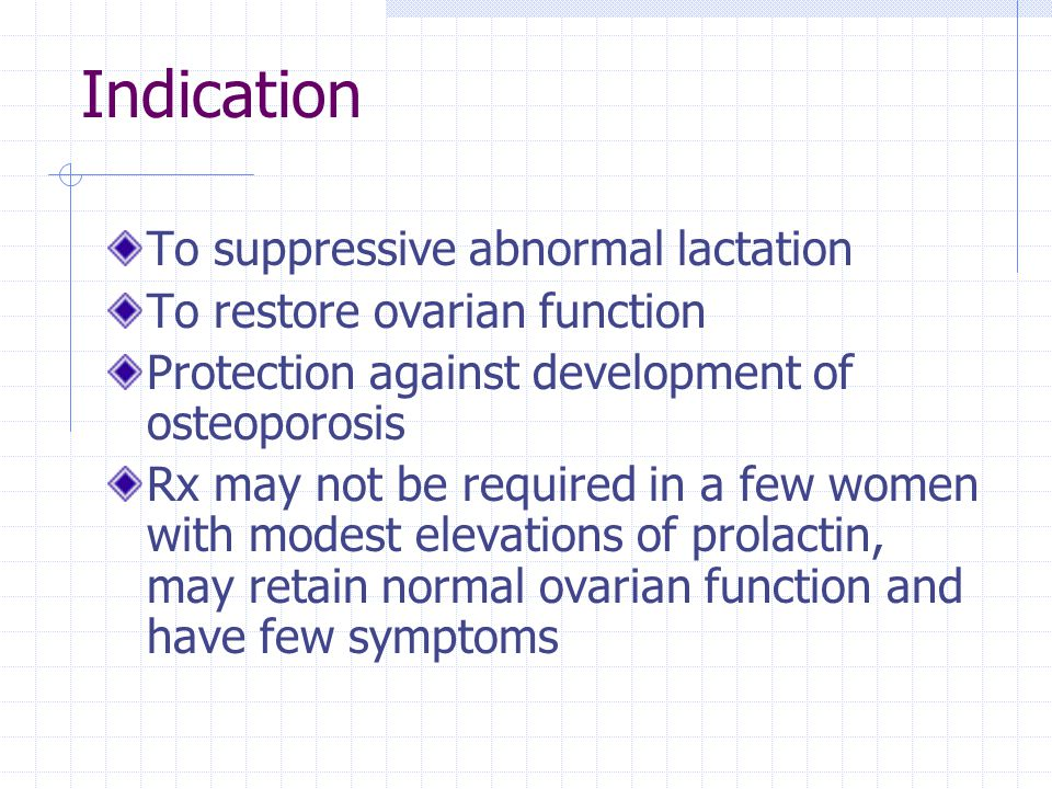 Indication To suppressive abnormal lactation To restore ovarian function Protection against development of osteoporosis Rx may not be required in a fe