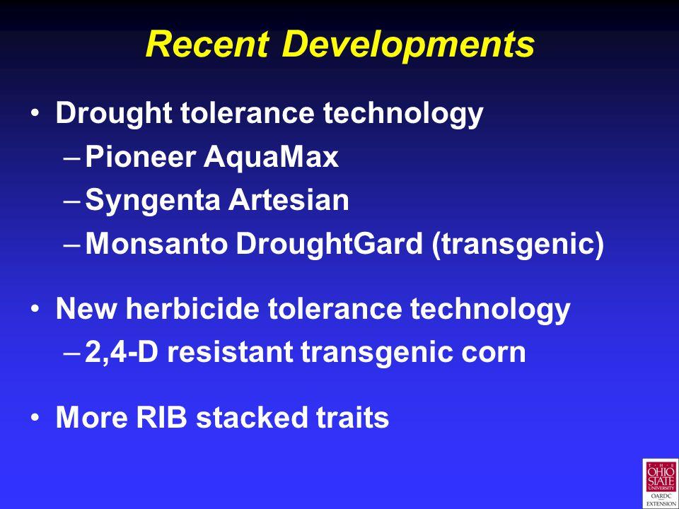 Recent Developments Drought tolerance technology –Pioneer AquaMax –Syngenta Artesian –Monsanto DroughtGard (transgenic) New herbicide tolerance technology –2,4-D resistant transgenic corn More RIB stacked traits