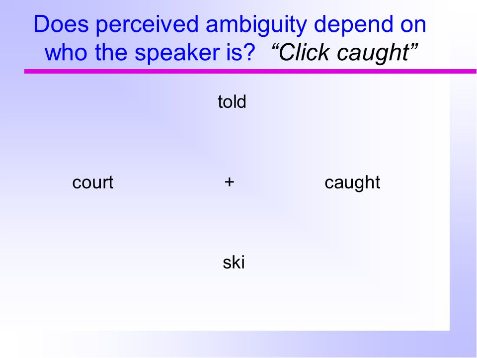 "Does perceived ambiguity depend on who the speaker is? ""Click cawed"" stair cod+ cawed ice (LI dialect)"