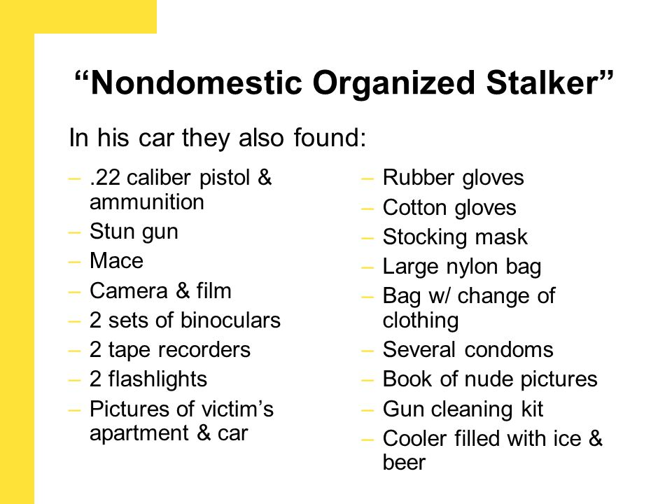 –.22 caliber pistol & ammunition –Stun gun –Mace –Camera & film –2 sets of binoculars –2 tape recorders –2 flashlights –Pictures of victim's apartment & car –Rubber gloves –Cotton gloves –Stocking mask –Large nylon bag –Bag w/ change of clothing –Several condoms –Book of nude pictures –Gun cleaning kit –Cooler filled with ice & beer In his car they also found: Nondomestic Organized Stalker