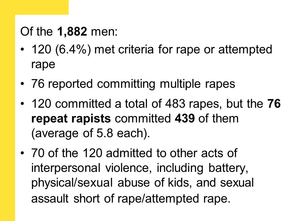 Of the 1,882 men: 120 (6.4%) met criteria for rape or attempted rape 76 reported committing multiple rapes 120 committed a total of 483 rapes, but the 76 repeat rapists committed 439 of them (average of 5.8 each).