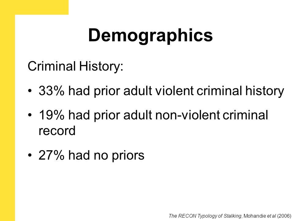 Demographics Criminal History: 33% had prior adult violent criminal history 19% had prior adult non-violent criminal record 27% had no priors The RECON Typology of Stalking, Mohandie et al (2006)
