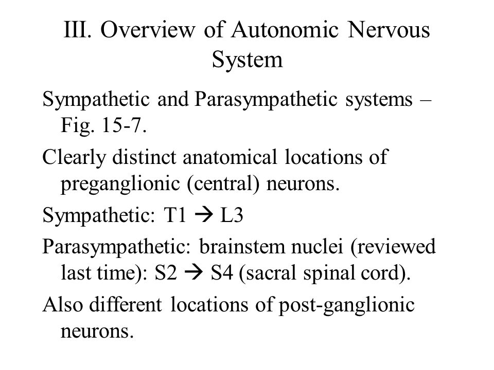 III. Overview of Autonomic Nervous System Sympathetic and Parasympathetic systems – Fig. 15-7. Clearly distinct anatomical locations of preganglionic