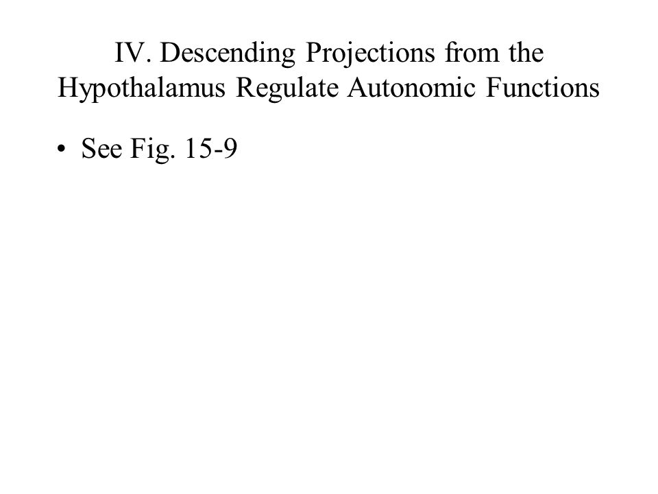 IV. Descending Projections from the Hypothalamus Regulate Autonomic Functions See Fig. 15-9