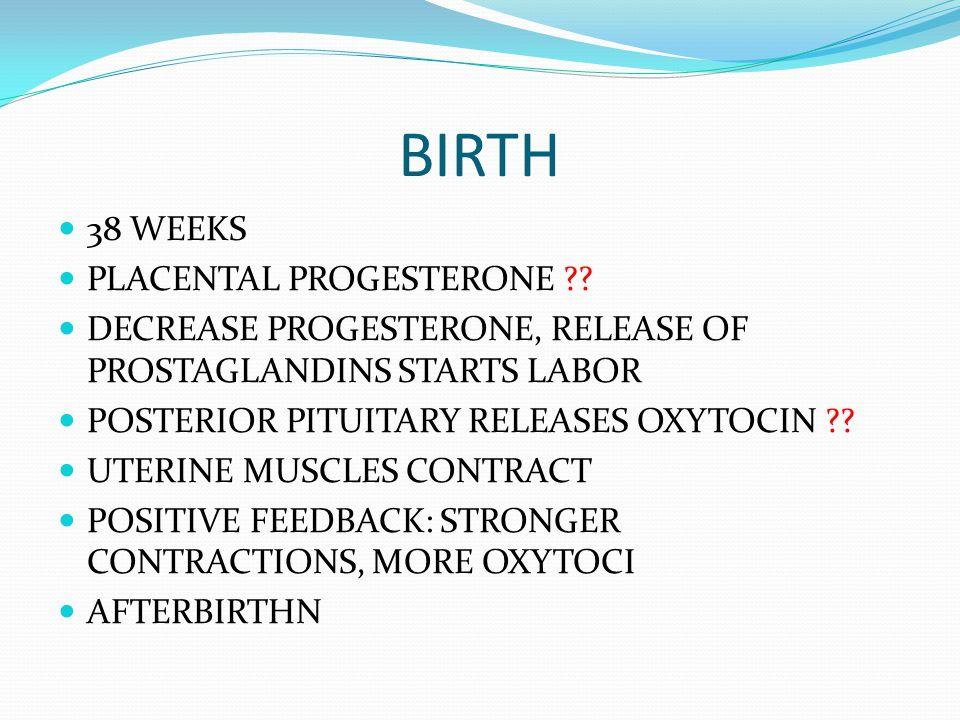 BIRTH 38 WEEKS PLACENTAL PROGESTERONE ?? DECREASE PROGESTERONE, RELEASE OF PROSTAGLANDINS STARTS LABOR POSTERIOR PITUITARY RELEASES OXYTOCIN ?? UTERIN