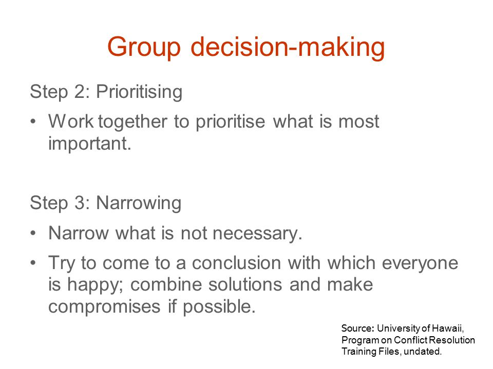 Step 2: Prioritising Work together to prioritise what is most important.