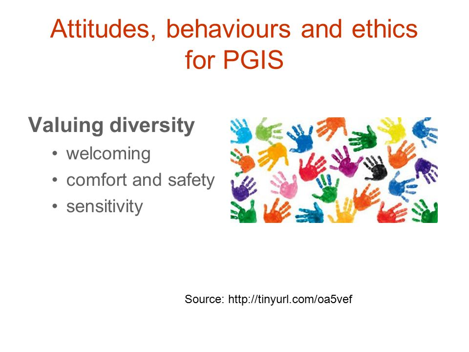 Valuing diversity welcoming comfort and safety sensitivity Source: http://tinyurl.com/oa5vef Attitudes, behaviours and ethics for PGIS