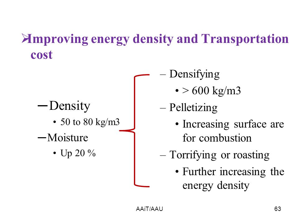  Improving energy density and Transportation cost AAiT/AAU63 ─ Density 50 to 80 kg/m3 ─Moisture Up 20 % –Densifying > 600 kg/m3 –Pelletizing Increasing surface are for combustion –Torrifying or roasting Further increasing the energy density