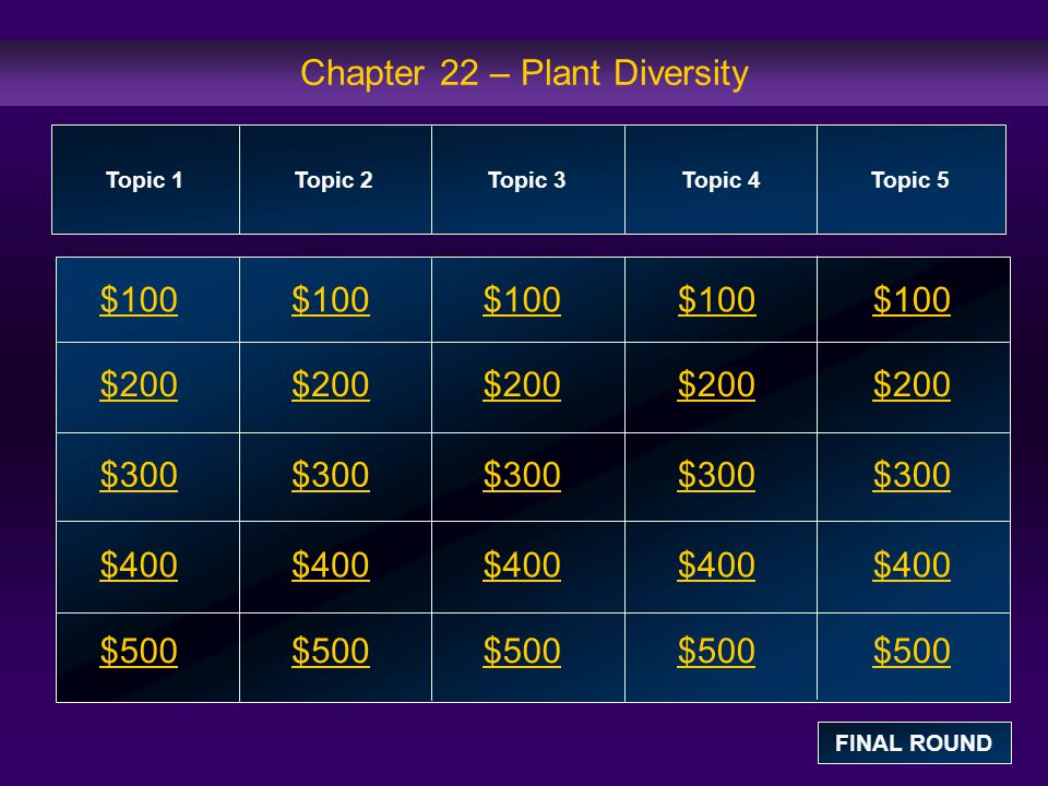 Topic 4: $100 Question The four groups of gymnosperms are conifers, cycads, gingkoes, and a.