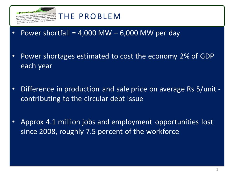 Power shortfall = 4,000 MW – 6,000 MW per day Power shortages estimated to cost the economy 2% of GDP each year Difference in production and sale price on average Rs 5/unit - contributing to the circular debt issue Approx 4.1 million jobs and employment opportunities lost since 2008, roughly 7.5 percent of the workforce Power shortfall = 4,000 MW – 6,000 MW per day Power shortages estimated to cost the economy 2% of GDP each year Difference in production and sale price on average Rs 5/unit - contributing to the circular debt issue Approx 4.1 million jobs and employment opportunities lost since 2008, roughly 7.5 percent of the workforce 3 THE PROBLEM
