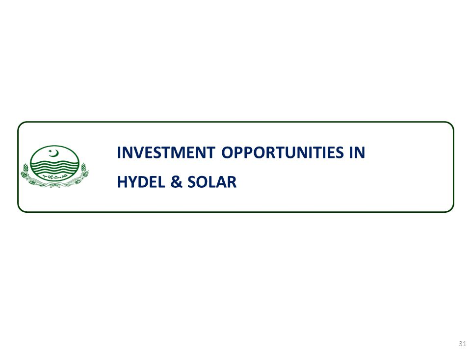 INVESTMENT OPPORTUNITIES IN HYDEL & SOLAR 31