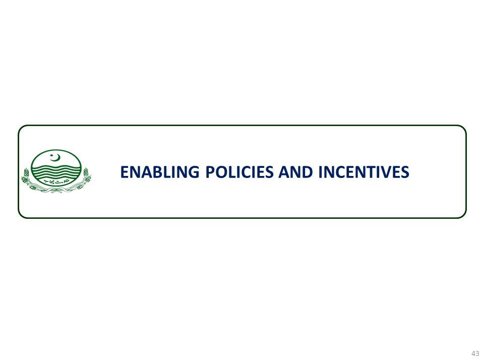ENABLING POLICIES AND INCENTIVES 43
