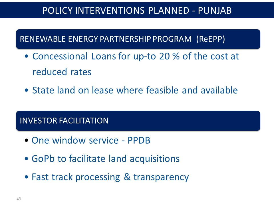 49 RENEWABLE ENERGY PARTNERSHIP PROGRAM (ReEPP) Concessional Loans for up-to 20 % of the cost at reduced rates State land on lease where feasible and available INVESTOR FACILITATION One window service - PPDB GoPb to facilitate land acquisitions Fast track processing & transparency POLICY INTERVENTIONS PLANNED - PUNJAB