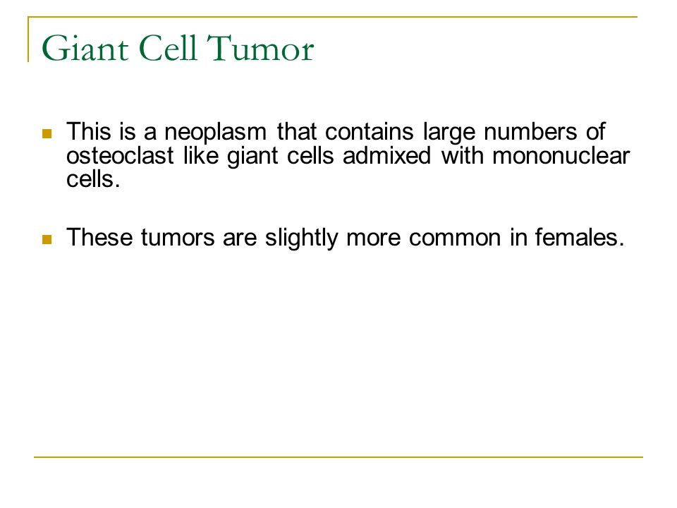 Giant Cell Tumor This is a neoplasm that contains large numbers of osteoclast like giant cells admixed with mononuclear cells.