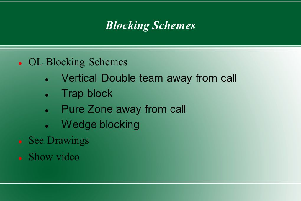 Blocking Schemes OL Blocking Schemes Vertical Double team away from call Trap block Pure Zone away from call Wedge blocking See Drawings Show video