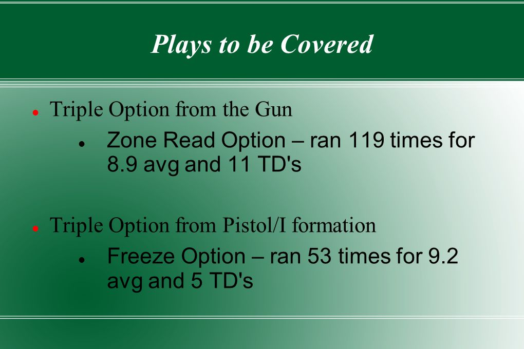 Plays to be Covered Triple Option from the Gun Zone Read Option – ran 119 times for 8.9 avg and 11 TD s Triple Option from Pistol/I formation Freeze Option – ran 53 times for 9.2 avg and 5 TD s