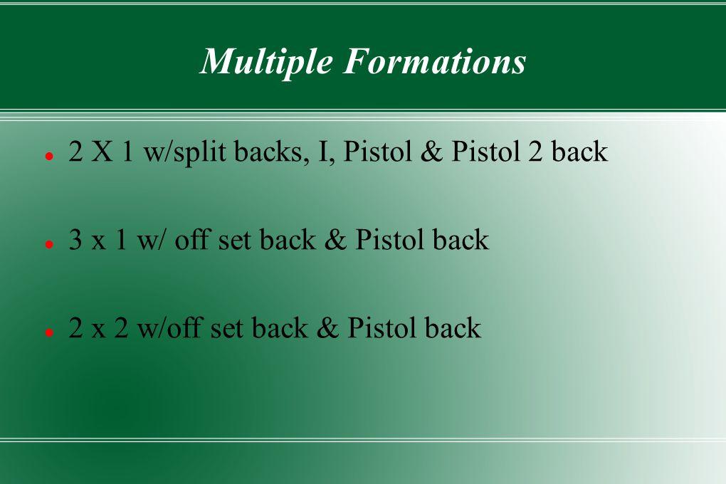 Multiple Formations 2 X 1 w/split backs, I, Pistol & Pistol 2 back 3 x 1 w/ off set back & Pistol back 2 x 2 w/off set back & Pistol back