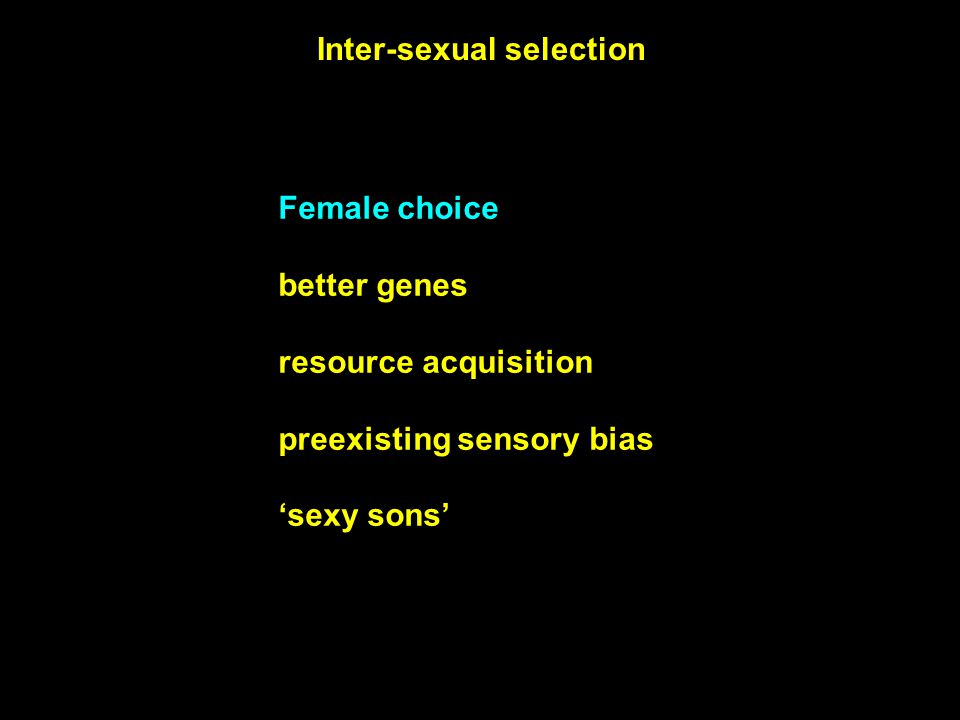 Female choice better genes resource acquisition preexisting sensory bias 'sexy sons' Inter-sexual selection