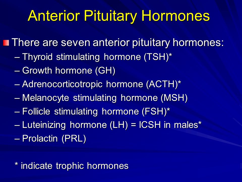 Anterior Pituitary Hormones There are seven anterior pituitary hormones: –Thyroid stimulating hormone (TSH)* –Growth hormone (GH) –Adrenocorticotropic hormone (ACTH)* –Melanocyte stimulating hormone (MSH) –Follicle stimulating hormone (FSH)* –Luteinizing hormone (LH) = ICSH in males* –Prolactin (PRL) * indicate trophic hormones