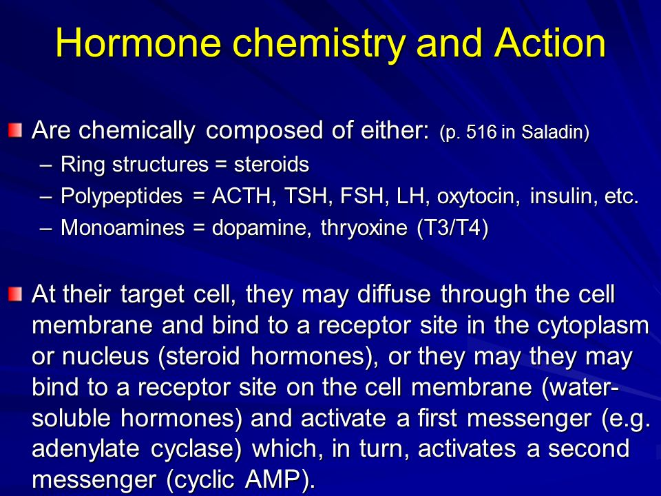 Hormone chemistry and Action Are chemically composed of either: (p. 516 in Saladin) –Ring structures = steroids –Polypeptides = ACTH, TSH, FSH, LH, ox