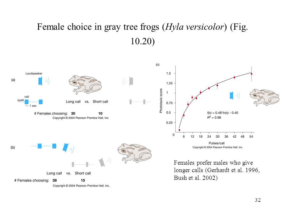 32 Female choice in gray tree frogs (Hyla versicolor) (Fig. 10.20) Females prefer males who give longer calls (Gerhardt et al. 1996, Bush et al. 2002)