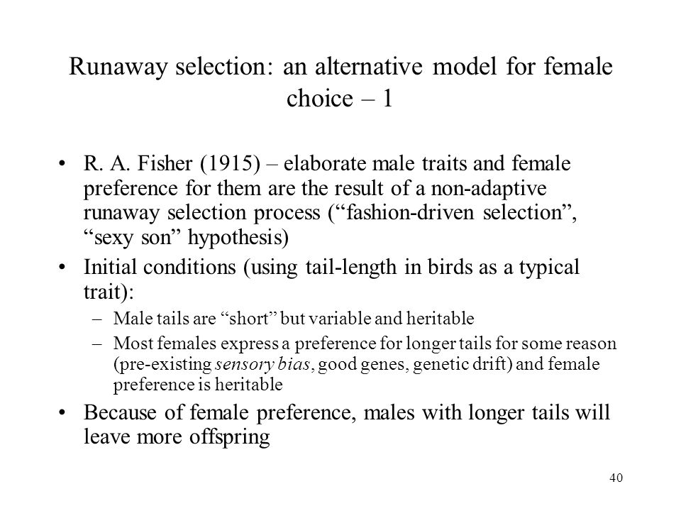 40 Runaway selection: an alternative model for female choice – 1 R. A. Fisher (1915) – elaborate male traits and female preference for them are the re