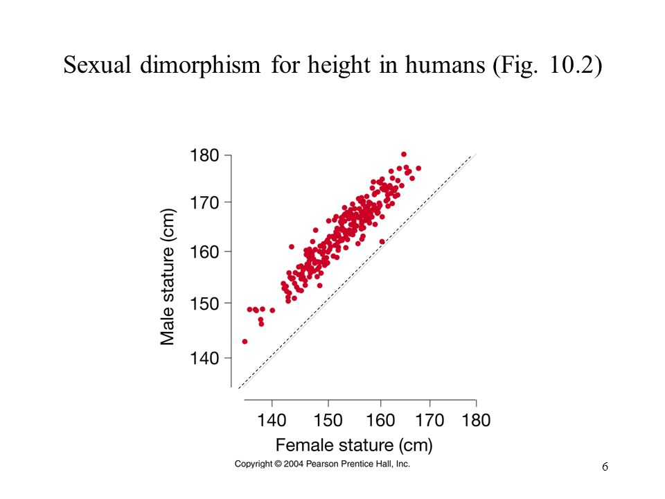 6 Sexual dimorphism for height in humans (Fig. 10.2)