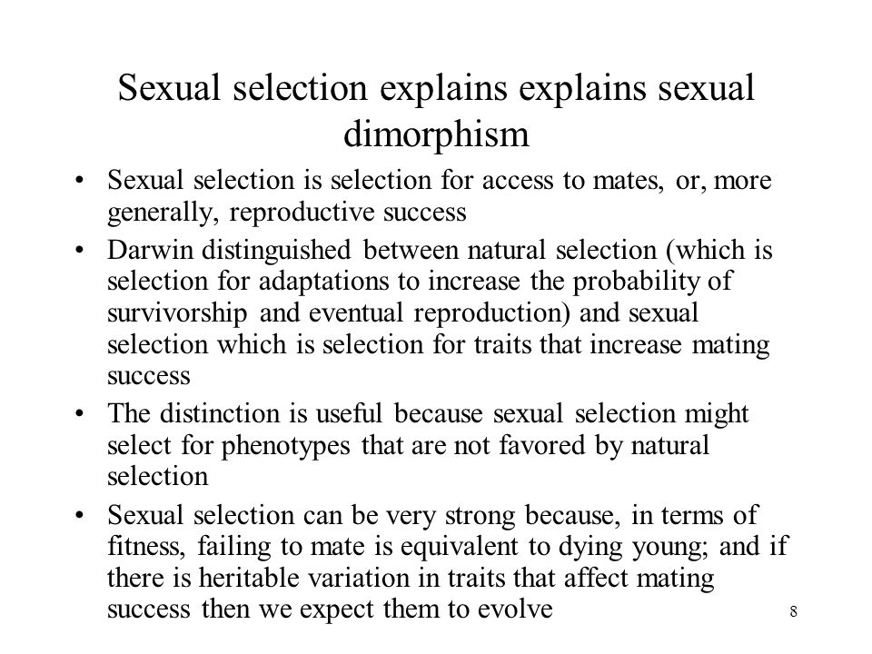 9 Asymmetries in sexual reproduction – 1 (Bateman 1948, Trivers 1972) If sexual selection is to explain differences between sexes, it must act differently in the two sexes Eggs (or pregnancies) are more expensive than ejaculates Mothers generally invest more resources in each offspring than do fathers In more than 90% of mammals, females provide substantial parental care and males provide little or none Even in species with no parental care, eggs are more expensive than sperm, and there are fewer of them