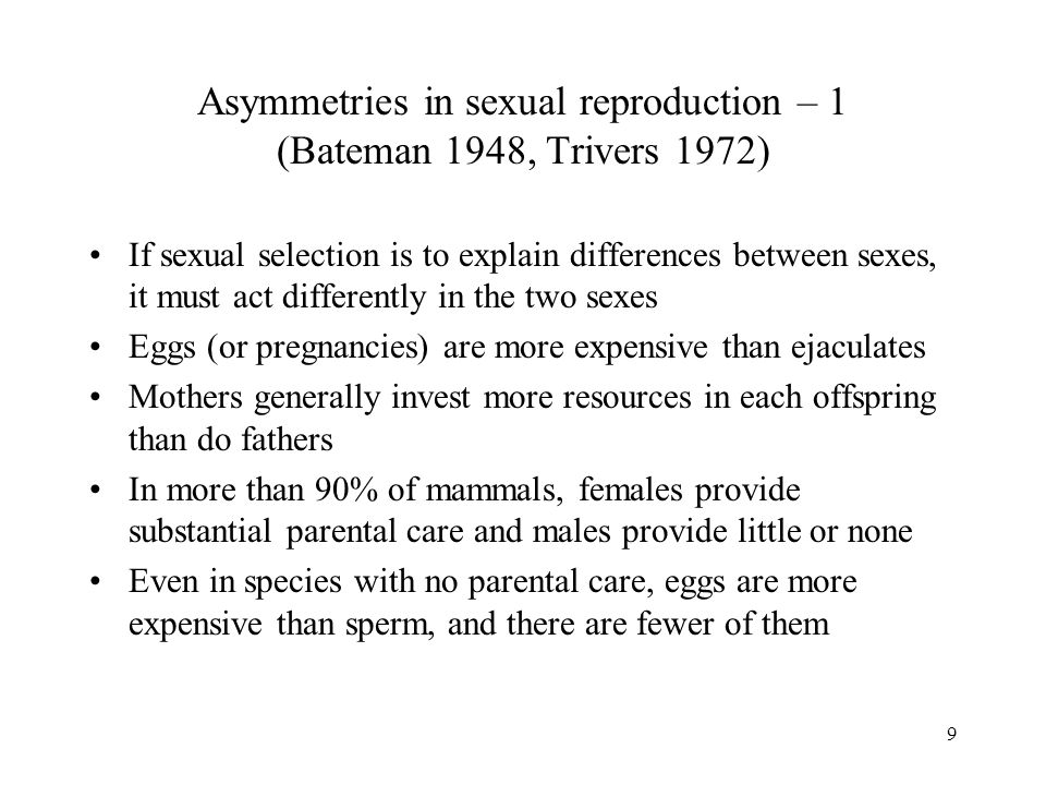 50 Sexual selection by female choice – final comments Female choice for good genes and sexy sons (runaway selection) are not mutually exclusive If a male trait is heritable and if it indicates good genetic quality, then both types of selection can operate simultaneously