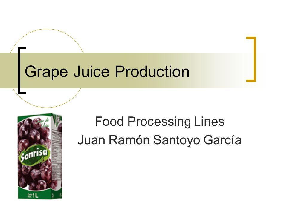 Grape Juice Production Food Processing Lines Juan Ramón Santoyo García