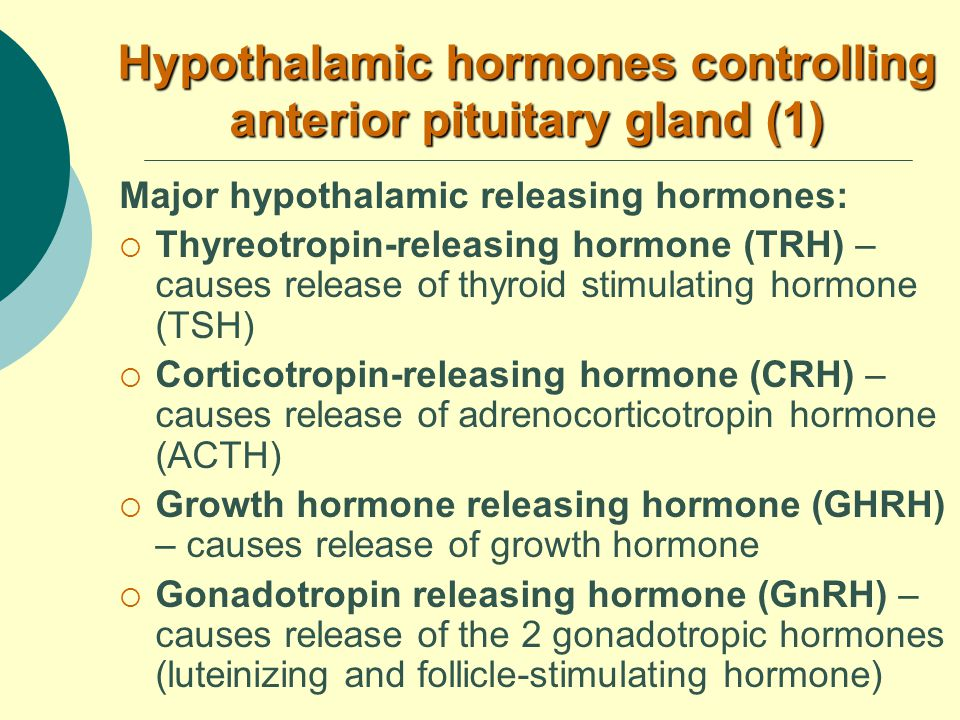 Hypothalamic hormones controlling anterior pituitary gland (1) Major hypothalamic releasing hormones:  Thyreotropin-releasing hormone (TRH) – causes release of thyroid stimulating hormone (TSH)  Corticotropin-releasing hormone (CRH) – causes release of adrenocorticotropin hormone (ACTH)  Growth hormone releasing hormone (GHRH) – causes release of growth hormone  Gonadotropin releasing hormone (GnRH) – causes release of the 2 gonadotropic hormones (luteinizing and follicle-stimulating hormone)