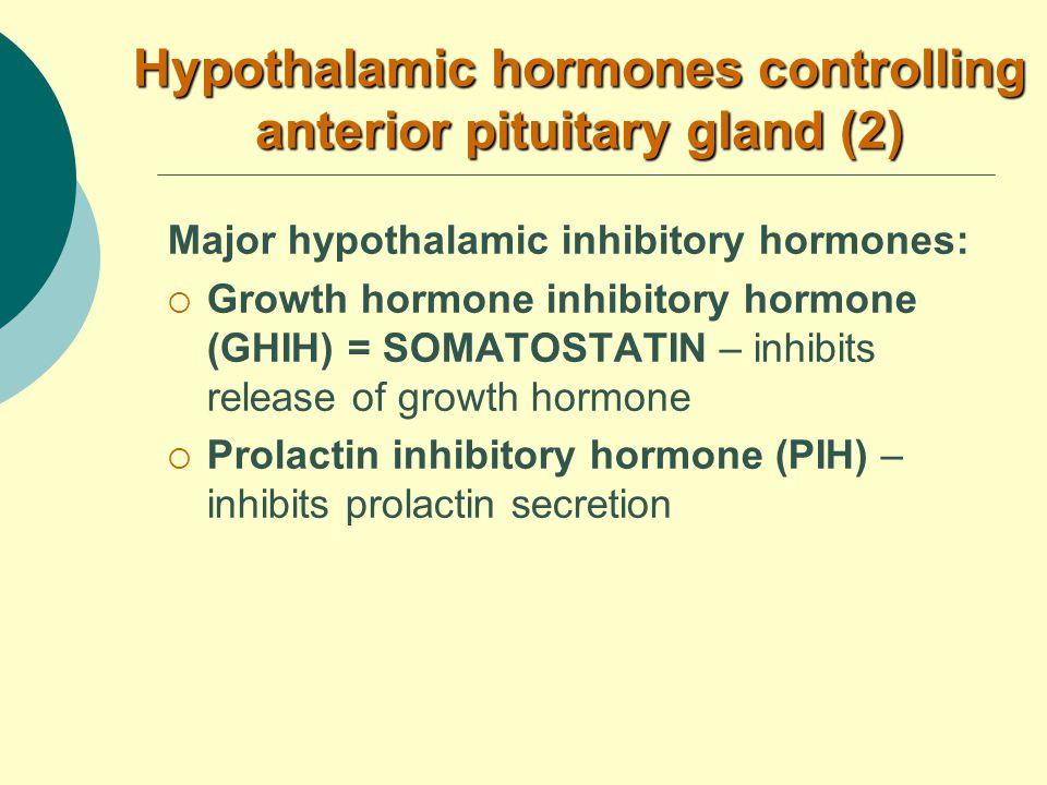 Major hypothalamic inhibitory hormones:  Growth hormone inhibitory hormone (GHIH) = SOMATOSTATIN – inhibits release of growth hormone  Prolactin inhibitory hormone (PIH) – inhibits prolactin secretion Hypothalamic hormones controlling anterior pituitary gland (2)