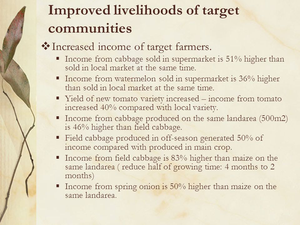  Increased income of target farmers.