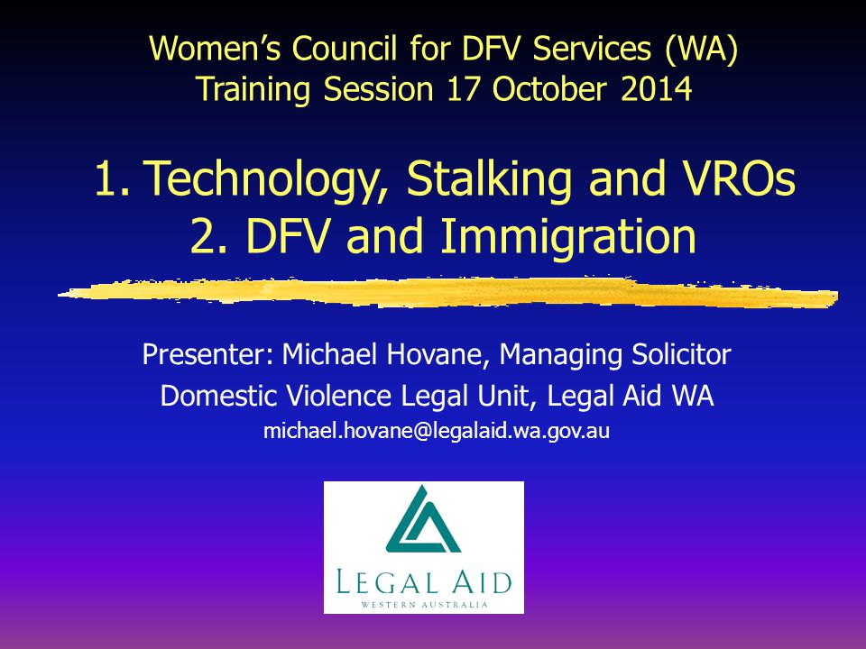 Michael Hovane has been the Manager of the Domestic Violence Unit at Legal Aid WA for the past 14 years. In addition to managing the Unit and being re