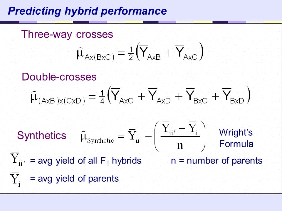 Predicting hybrid performance Three-way crosses Double-crosses Synthetics = avg yield of all F 1 hybrids n = number of parents = avg yield of parents