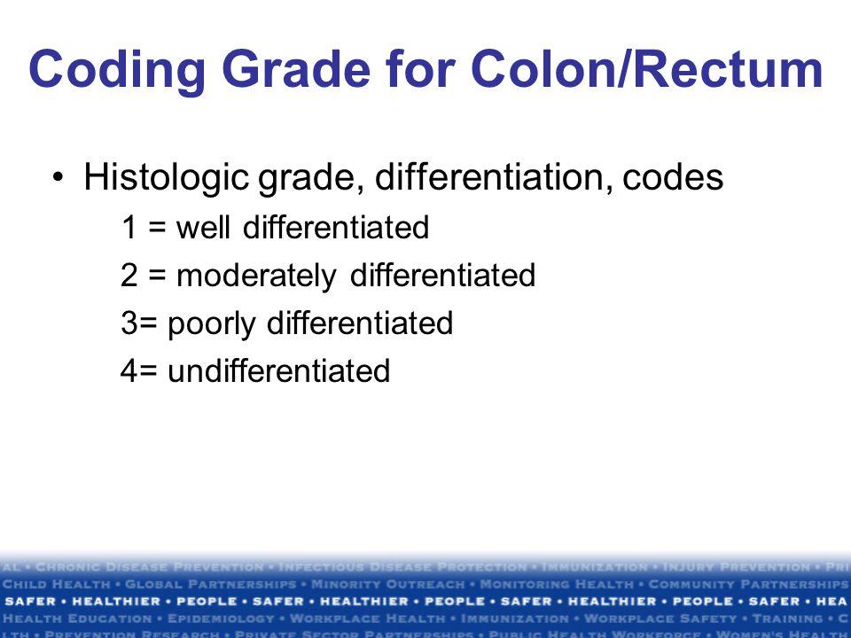 Coding Grade for Colon/Rectum Histologic grade, differentiation, codes 1 = well differentiated 2 = moderately differentiated 3= poorly differentiated 4= undifferentiated