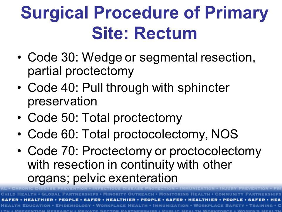 Surgical Procedure of Primary Site: Rectum Code 30: Wedge or segmental resection, partial proctectomy Code 40: Pull through with sphincter preservation Code 50: Total proctectomy Code 60: Total proctocolectomy, NOS Code 70: Proctectomy or proctocolectomy with resection in continuity with other organs; pelvic exenteration