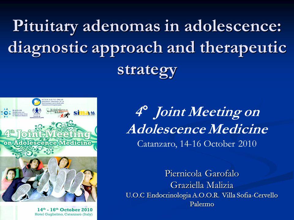 Pituitary adenomas in adolescence: diagnostic approach and therapeutic strategy Piernicola Garofalo Graziella Malizia U.O.C Endocrinologia A.O.O.R. Vi