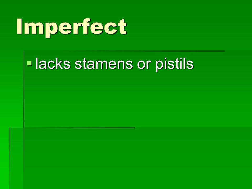 Imperfect  lacks stamens or pistils