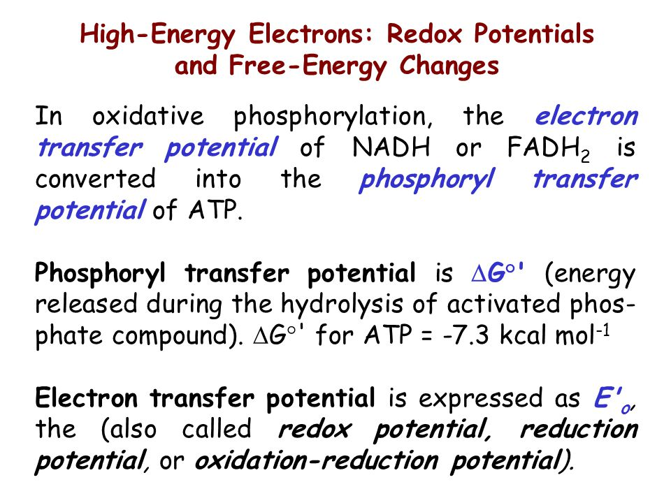 High-Energy Electrons: Redox Potentials and Free-Energy Changes In oxidative phosphorylation, the electron transfer potential of NADH or FADH 2 is con